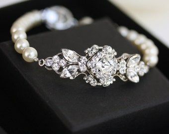 Pearl Bracelet Wedding Jewelry Pearl Bridal Bracelet Swarovski Crystal Bracelet Vintage style Art Deco Bridal Jewelry  KATRINA PEARL
