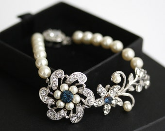 Pearl Wedding Bracelet Swarovski Crystal Flower Bracelet Something Blue Vintage Wedding Jewelry, Swarovski Crystal Pearl Sabine Fine