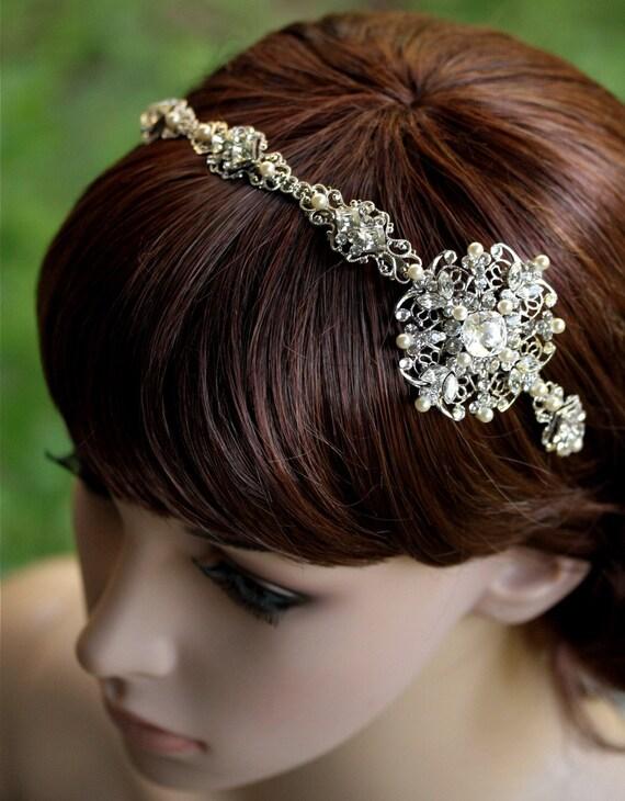 Bridal Headband with Swarovski Rhinestones and Cream Pearl. Luxurious Sorrell
