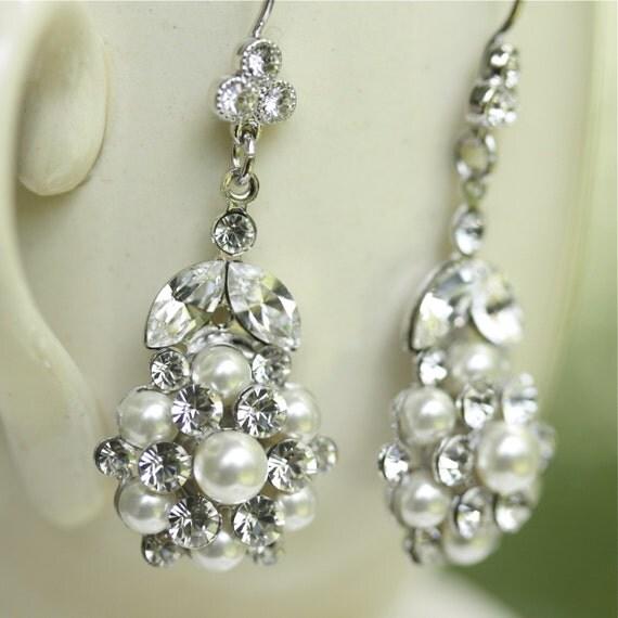 Alice Bridal Ivory Pearl Earrings. Swarovski