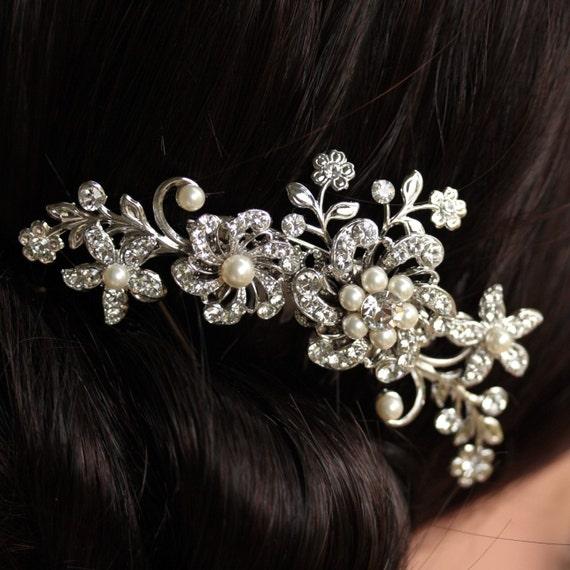 Bridal Hair Comb Swarovski Rhinestone Ivory Pearl Vintage