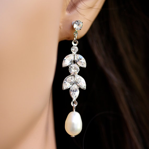 Rhinestone Bridal earrings with Pearl drop , Pearl Bridal Earrings, Wedding Jewelry, Swarovski Rhinestone Earrings, URSULA LONG