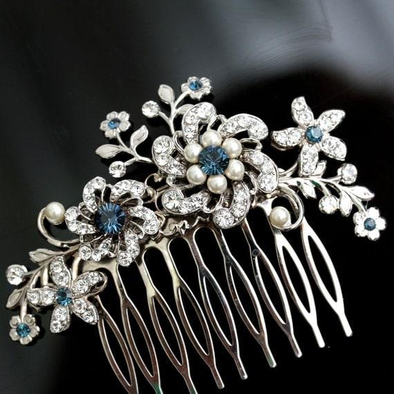Wedding Hair Comb Blue Wedding Hair Accessories Something Blue Pearl Rhinestone Flowers   SABINE Choose your Blue