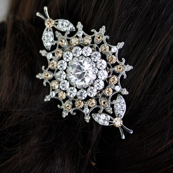Bridal Hair comb, Crystal Headpiece, Swarovski Golden Shadow Vintage Wedding Hair Accessories, Champagne Comb . KIRIE