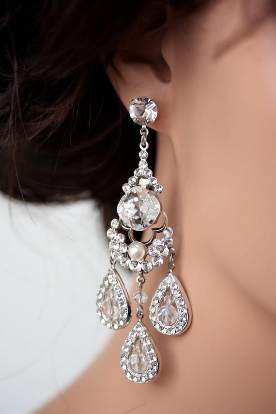 Statement Bridal Earrings Chandelier Wedding Earrings Large