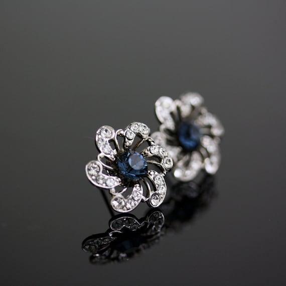 Blue Bridal earrings rhinestone Flower Wedding Earrings Stud earrings Something Blue Wedding Jewelry SABINE POST