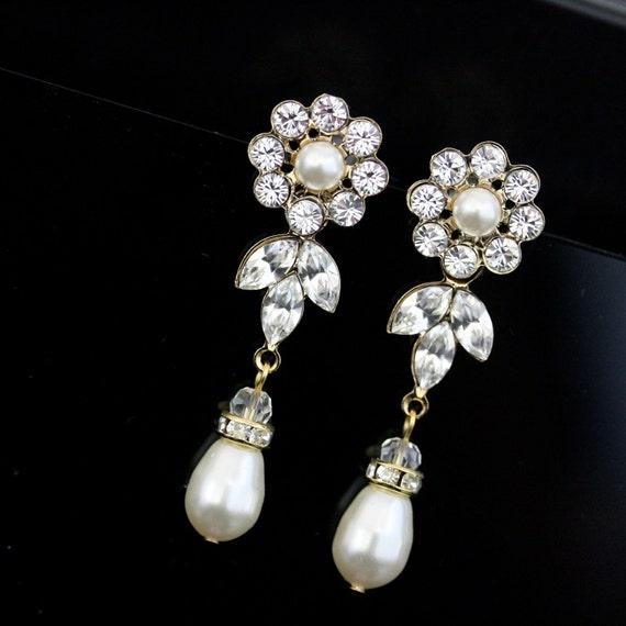 Gold Wedding earrings Pearl drop Vintage Bridal earrings Swarovski Crystal Wedding Jewelry, HAYLEY LUXE