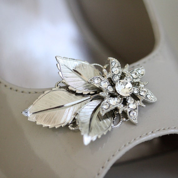 Wedding Shoe Clips, vintage flowers, Swarovski Rhinestone, Silver leaves, Wedding accessories , CHARLOTTE
