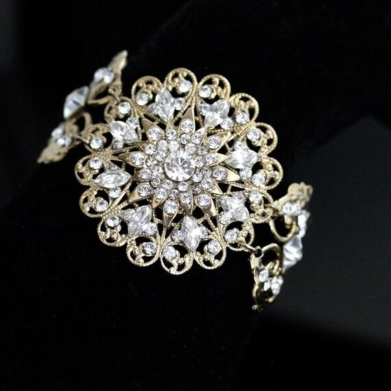 Gold Wedding Bracelet, Rhinestone cuff , Wedding Jewelry, Wide  Bridal Bracelet, Swarovski Crystal  Marion Cuff Bracelet