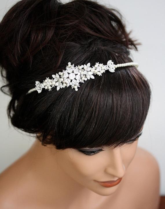 Rhinestone Pearl Wedding Headband, Swarovski Crystal Head Piece, Bridal Headband, Wedding Hair Accessories, FRANCES TWIST