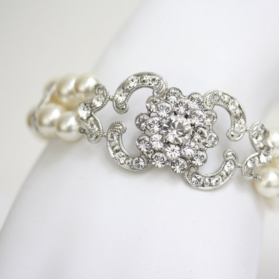 Art Deco Bridal Bracelet, Ivory Pearl and Swarovski Rhinestone, Wedding jewelry,  CELESTE