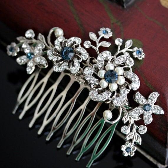 Custom order for aemoser3 SABINE Bridal Hair Comb Montana Blue