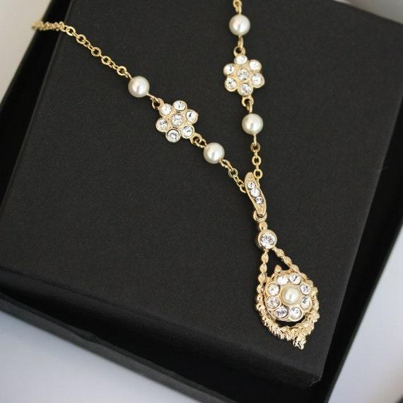 Gold wedding necklace, Wedding Jewelry, Gold Pendant Chain, fine wedding necklace, MAVIS