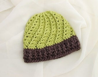 Lime Cabled Baby Hat. Brown. Beanie.