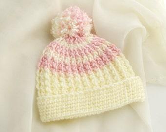 Crocheted Baby Brim Hat. Yellow. Beanie.