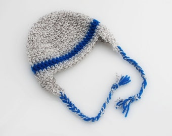 Crocheted Baby Earflap Hat. Blue. Gray.