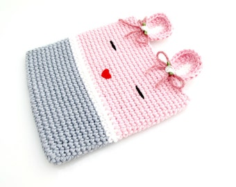 Crocheted Bunny Hot Pad. Rabbit. Pink.