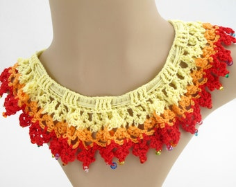 Red Ruffle Collar Necklace. Organic. Crochet.