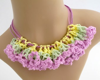 Orchid Inspired Crocheted Necklace. Organic. Flower.