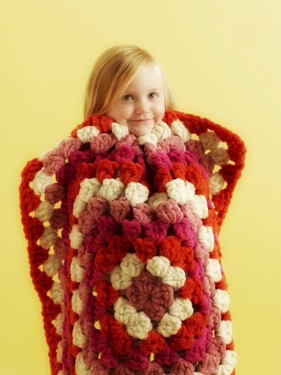 Granny Square Baby Blanket. Soft. Raspberry.