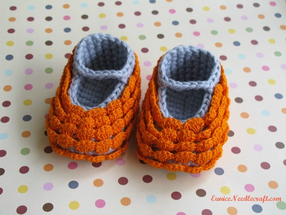 Crocheted Cotton Baby Booties. Tangerine. Silver.