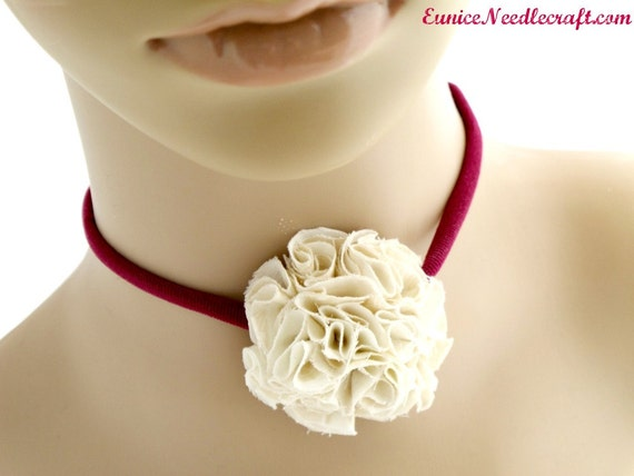 Cream Fabric Flower Necklace. Floral. Carnation.