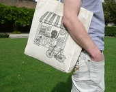 Retro candy shop- Hand printed large tote bag