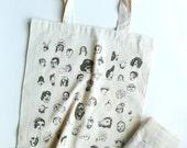 Faces- Hand printed tote bag