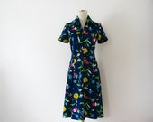 1970s Dress S Preppy Bright Blue Floral Day