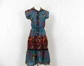1970s Boho Dress Summer Safari Print Dress S M Teal Tiered Dress