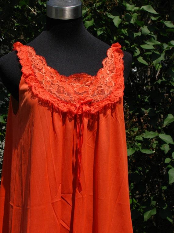 Vintage 1960s Vanity Fair Tangerine Orange Nightgown M L Lace and Nylon