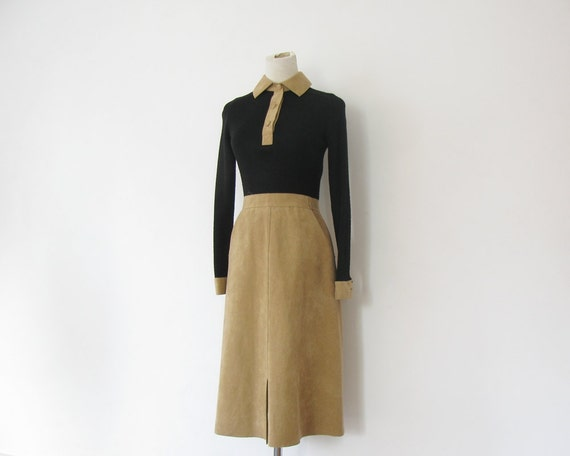 1970s Preppy Dress Fall Autumn Black and Tan Faux Suede S XS