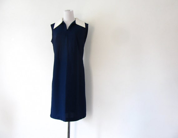 70s Mod Dress Navy Blue Dress M L