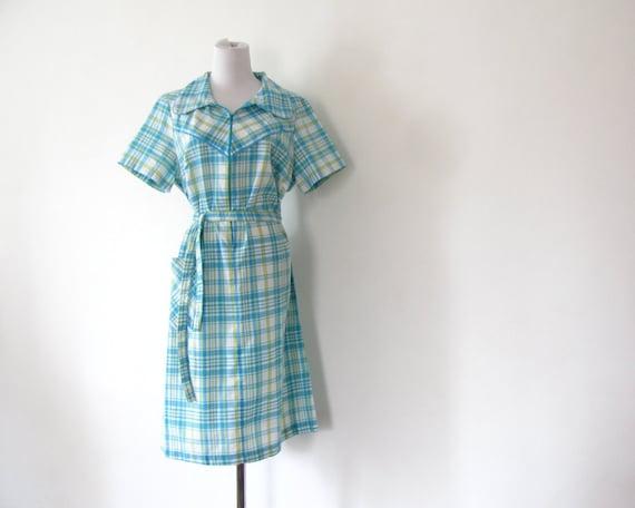 1970s Checked Dress Summer Dress M L Blue