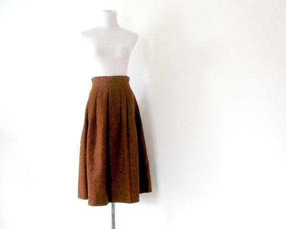1950s Wool Skirt Rust Skirt S Pleated skirt