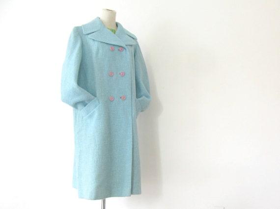 1960s Wool Coat Light Blue Coat M Winter Coat