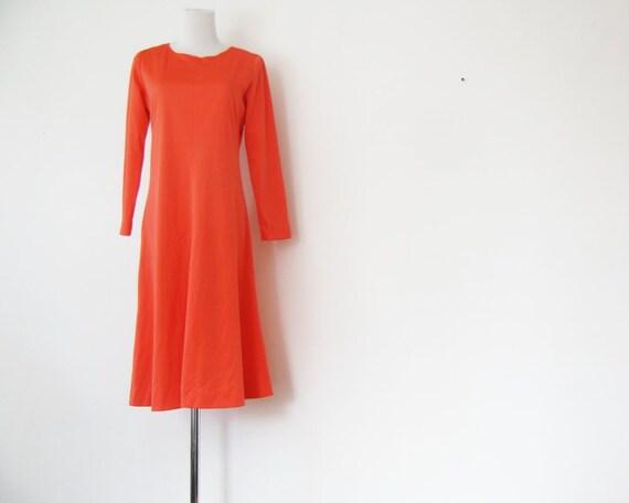 1970s Tangerine Dress Mod Dress