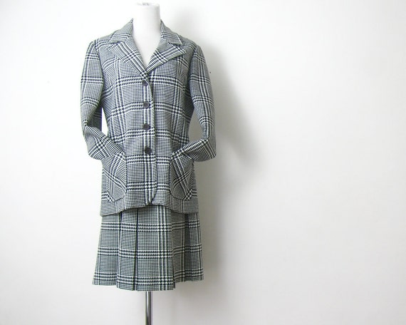 1960s Skirt Suit Black and white Check Suit M
