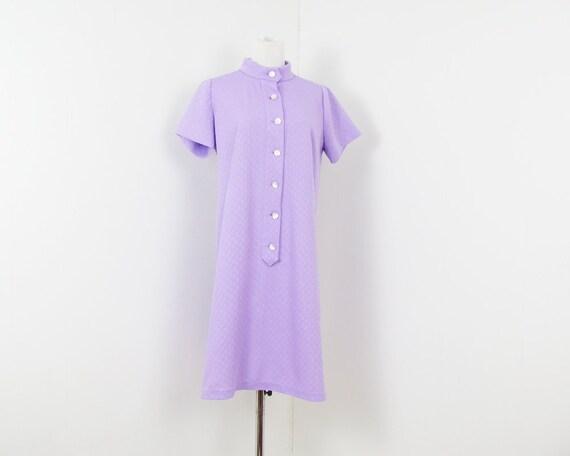 60s Mod Dress Purple Dress M 1960s Poly Mod Dress L