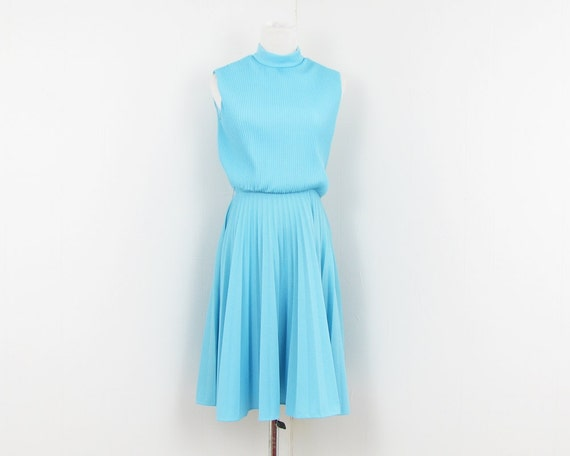 70s Mod Dress Aqua Blue Dress Pleated Skirt S