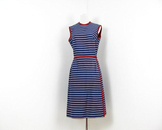 60s Mod Dress Striped Dress Blue Grey Red M 1960s