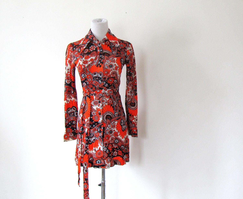 70s mini dress sizzler set paisley micro mini dress xs s