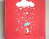 Raining Love 81, baby and kids decor, children's art, hand painted art, mouse, rain drops, pink