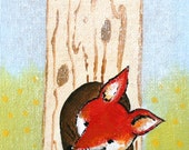 Fox and Hide- woodland animals PRINT fox, tree, baby and kids decor, fox hole, forest