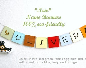 Name Banner, Personalized Wooden Name Banner with 8 Letters, baby and kids art, alphabet, nursery decorations custom name plaque