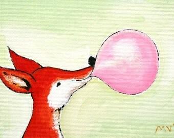 The Bubblegum Fox PRINT