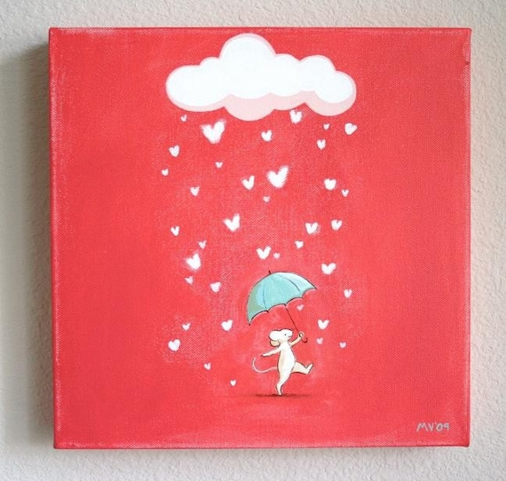 Raining Love 81, baby and kids decor, children's art, hand painted art, mouse, rain drops, pink