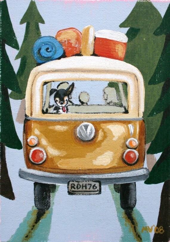 "Camp Trip Print 8x10"", kids decor, art for kids, housewares, camping, dog, hawk, Volkswagen"