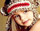Crochet Sock Monkey Hat - baby and kids sizes