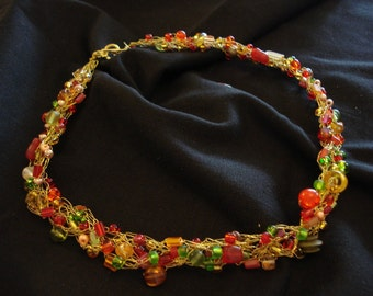 Boutique Fall Beaded Wire Crochet Necklace Birthday Gift Hostess Gift